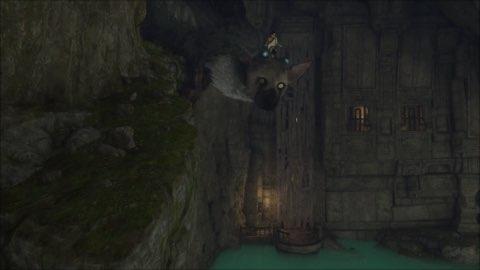 Trico e o garoto em meio a suas aventuras em The Last Guardian