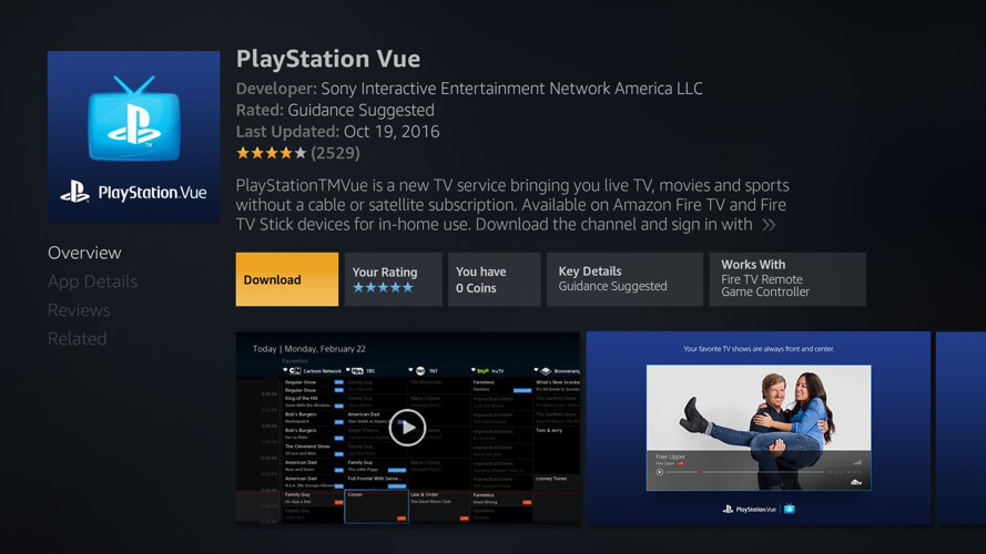Screenshot of PlayStation Vue on Amazon Fire TV