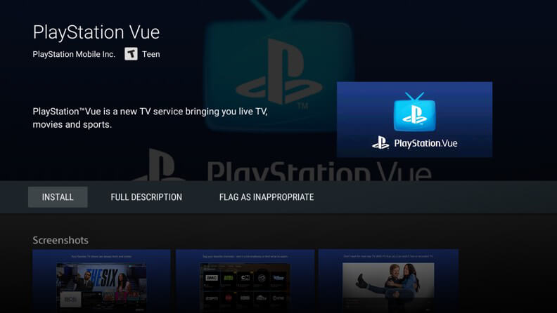 Screenshot of PlayStation Vue on Android TV