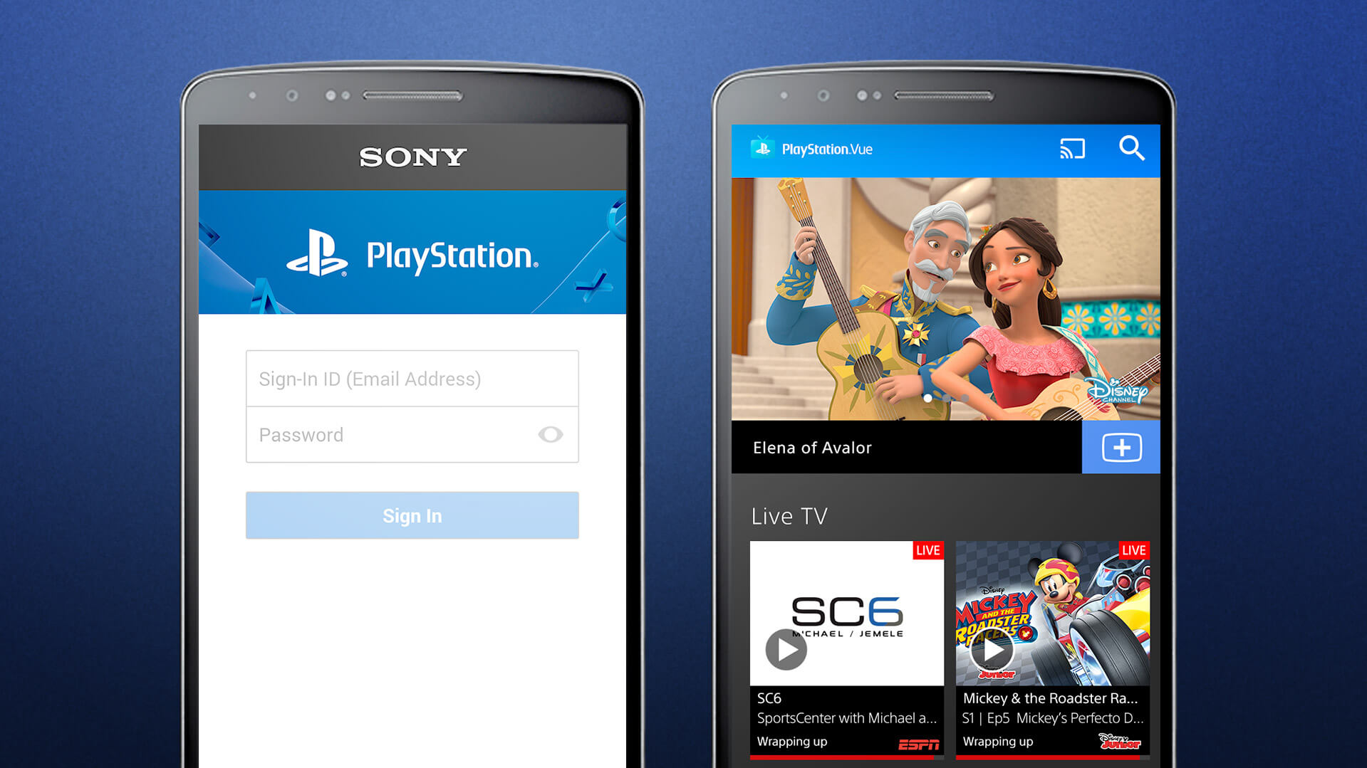 Screenshot of PlayStation Vue on mobile