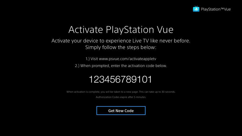 Screenshot of PlayStation Vue on roku
