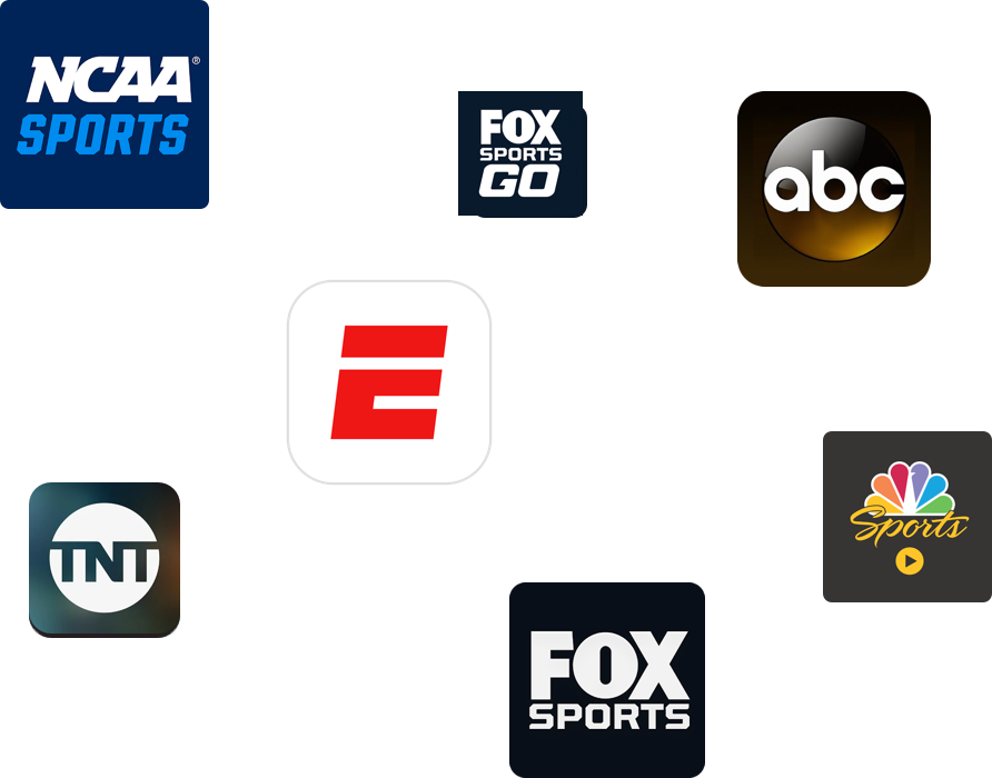 TV Everywhere apps users available with a subscription to PlayStation Vue:  NCAA sports logo, FOX Sports Go logo, ABC app logo, ESPN app logo, TNT app logo, FOX Sports app logo, NBC Sports app logo