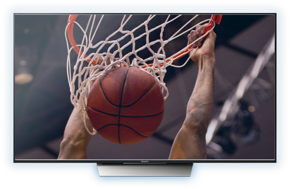 TV with someone dunking a basketball on screen