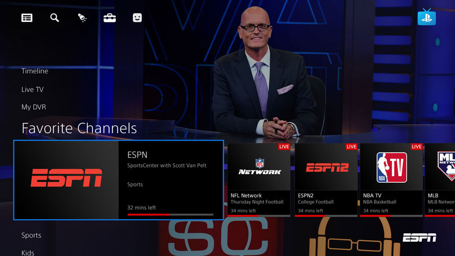 Screenshot of PlayStation Vue Favorite Channels page