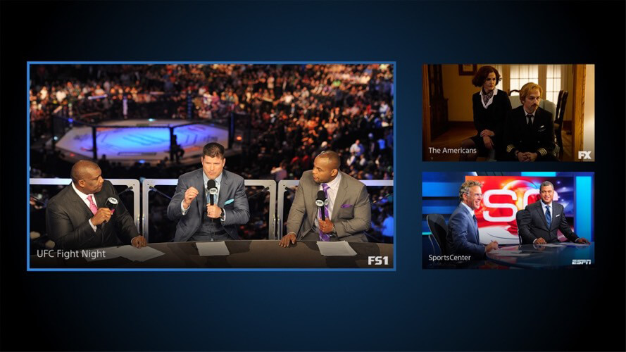 Screenshot of the PlayStation Vue Multiview feature