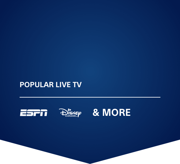 Popular Live TV; ESPN logo, Disney logo, and more