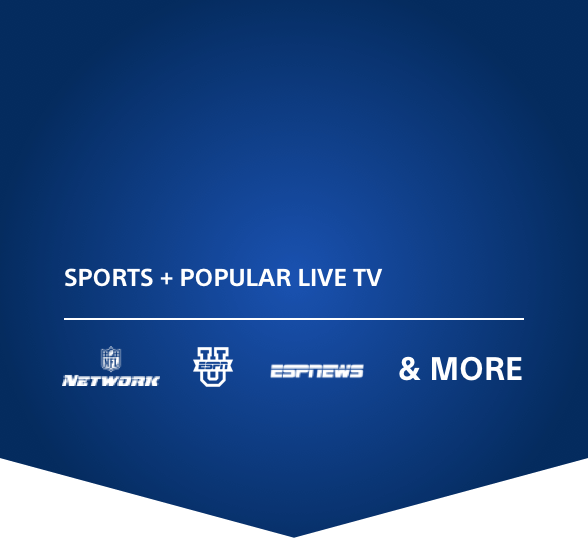 Sports and Popular Live TV; NFL Network logo, ESPN U logo, ESPN News logo, and more