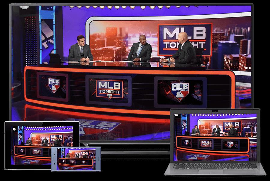 Various screens depicting MLB Network